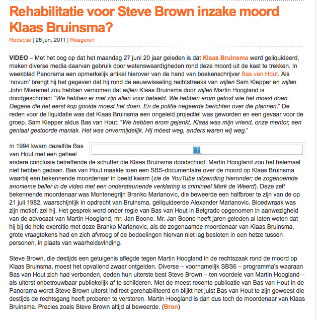 rehabilitatie Steve Brown