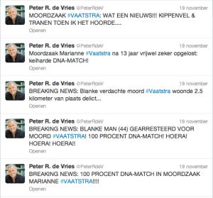 De walgelijke Hoera. hoera, en krokodillentranen twitter van Peter R. de Vries.