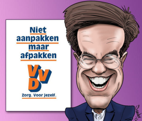 Dutch Prime Minister Mark Rutte, cartoon