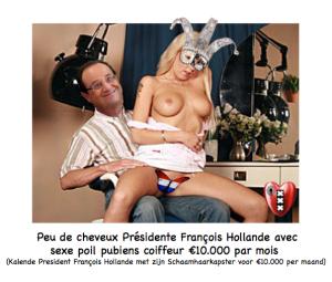Francois Hollande schaamhaar kapster